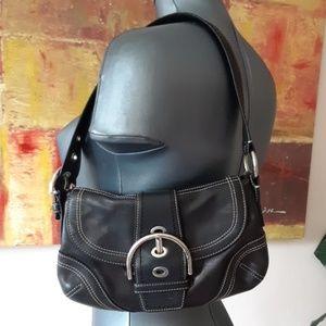 COACH black small shoulder hand bag silver hardwar